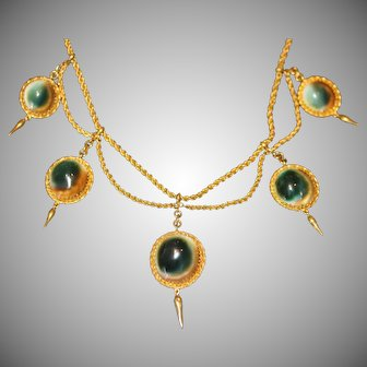 Rare Antique Victorian Operculum 15 Carat Gold Etruscan Revival Necklace