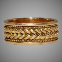 Victorian 18 Carat Gold Chain Wedding Band Ring Dated 1876