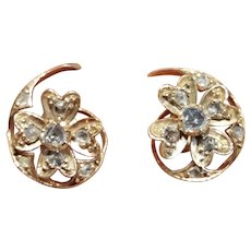 Antique Victorian 18 Carat Gold Rose Cut Diamond Earrings Circa 1890