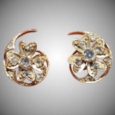 Antique Victorian 18 Carat Gold Rose Cut Diamond Earrings Circa 1890