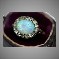 Antique Georgian 9 Carat Gold Opal And Black Dot Paste Ring Circa 1780