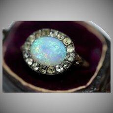 Antique Georgian 9 Carat Gold Opal And Black Dot Paste Ring Circa 1780