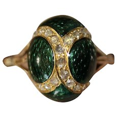 Antique Victorian Enamel Egg And Diamond 9 Carat Gold Ring Circa 1870
