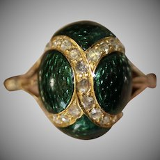 Antique Victorian Enamel Egg And Diamond 9 Carat Gold Ring Circa 1870