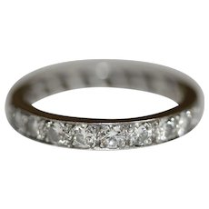 Vintage Platinum Diamond Eternity Band Wedding Ring circa 1950'