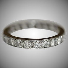 Vintage Platinum Diamond Eternity Band Wedding Ring circa 1950'