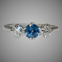 Vintage Diamond And Sapphire Trilogy Platinum Engagement Ring 1950's
