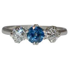 Vintage Diamond And Sapphire Trilogy Platinum Engagement Ring 1950's