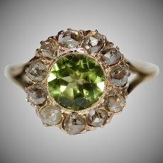 Antique Victorian Peridot And Rose Cut Diamond 18 Carat Gold Cluster Ring Circa 1880