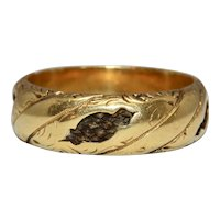 Antique Georgian Hair Keepsake Mourning Band Ring 18 Carat Gold Circa 1820