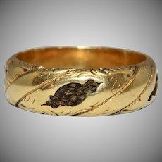 Antique Georgian Hair Keepsake Mourning Band Ring 18 Carat Gold Circa 1820