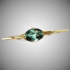 Art Deco Blue-Green Tourmaline 18 Carat Gold Brooch Pin Circa 1920