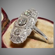 "Art Deco 14 Carat Continental Diamond Ring Circa 1920"""