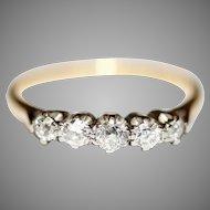 Art Deco Five Stone Old Cut Diamond Engagement Ring 18 Carat And Platinum Circa 1930