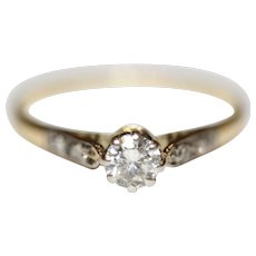Art Deco Diamond Solitaire Engagement Ring 18 Carat and Platinum ca 1930