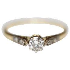 Art Deco Diamond Solitaire Engagement Ring 18 Carat and Platinum ca 1930