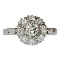 Vintage Platinum Engagement Diamond Cluster Daisy Ring Circa 1940