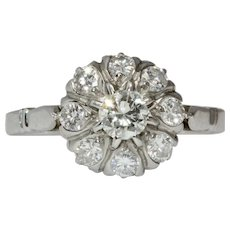 Vintage Platinum Engagement Diamond Cluster Daisy Ring Circa 1940
