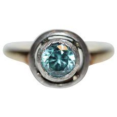 Antique Edwardian Blue Zircon 14 Carat Gold Ring Circa 1900