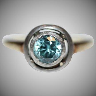 Antique Edwardian Blue Zircon 14 Carat Gold Ring Circa 1900
