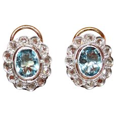 Antique Edwardian Aquamarine And Rose Cut Diamond Cluster Earrings Circa 1920
