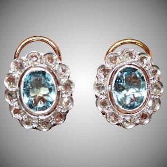 Antique Edwardian Aquamarine And Rose Cut Diamond Cluster Earrings Circa 1920