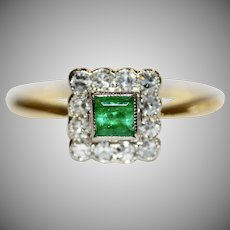 Vintage Emerald And Diamond Engagement Cluster Ring Circa 1940 18 Carat Gold