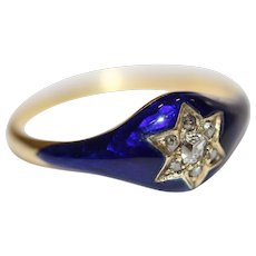 Antique Victorian Blue Enamel And Diamond Star Ring With Locket Circa 1850