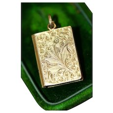 Antique Victorian Chased Book 9 Carat Gold Locket Charm Circa 1880