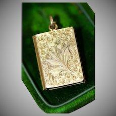 Antique Victorian Chased Book 9 Carat Gold Locket Charm Circa 1880
