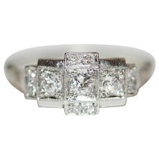 Vintage Art Deco 18 Carat White Gold Diamond Ring Circa 1920