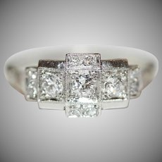 Vintage Art Deco 18 Carat White Gold Diamond Ring Circa 1920
