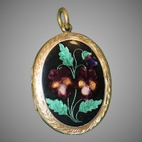 Antique Victorian Think-Of -Me Pansy Enamel Locket Circa 1890