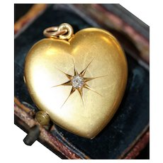 Antique 15 carat Edwardian Diamond Heart Locket Dated 1902