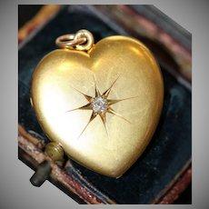 Antique 15 carat Edwardian Diamond Heart Locket Dated 1902