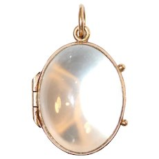 Antique Edwardian Pool Of Light Crystal 9 Carat Gold Locket Circa 1910