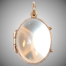Antique Edwardian Pool Of Light Crystal 9 Carat Gold Locket Circa 1910