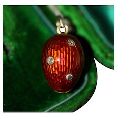 Fabulous Antique Victorian 12 Carat Gold Enamel And Diamond Strawberry Charm circa 1880