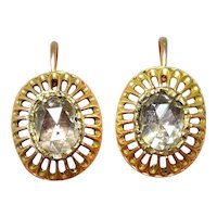 Antique Austro-Hungarian 18 Carat Gold Rose Cut Dormeuse Diamond Earrings circa 1870