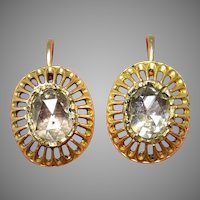 Antique Austro-Hungarian 18 Carat Gold Rose Cut Diamond Earrings circa 1870