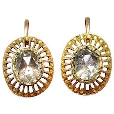 Antique Austro-Hungarian 18 Carat Gold Rose Cut Diamond Earrings circa 1870
