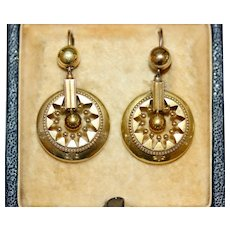 Antique Victorian Etruscan Revival 15 Carat Gold Earrings Circa 1870