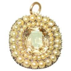Antique Victorian Topaz And Natural Split Pearl 15 Carat Pendant Circa 1860
