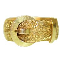 Antique Victorian Buckle Wedding Ring 18 Carat Gold Dated 1887