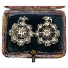 Antique Continental Rose Cut Diamond Earrings Circa 1830