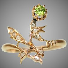 Antique Imperial Russia Dementoid Garnet and Rose Cut Diamond Ring Circa 1910