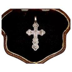 Antique Imperial Russia Silver Cross Circa 1880