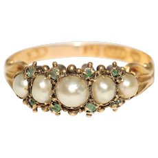 Antique Early Victorian Natural Pearl And Emerald Half Hoop Ring Circa 1840