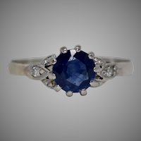 Vintage Art Deco Natural Sapphire And Diamond Solitaire Engagement Ring 18 Carat White Gold Circa 1920