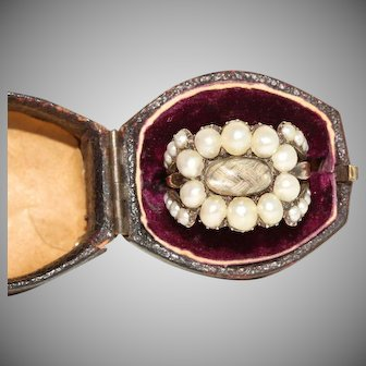 Antique Georgian Mourning Natural Split Pearl Ring Dated 1835